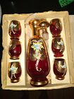 Vintage Bohemian High Enamel Ruby Red Decanter  Glasses set Gold and Florals