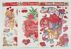 Valentines Day Window Decorations Decals Color Static Clings x4 Packs New