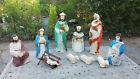 10pc Vintage BECO Blow Mold Nativity Light Set 1960s with orig boxes Jesus Mary