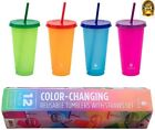 MANNA 12 Pack Color Changing Reusable Tumblers w Lids  Straw Set 24oz 710mL