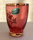BOHEMIAN CZECH RED CRANBERRY AND GOLD ENAMEL SMALL HAND CUT CRYSTAL GLASS