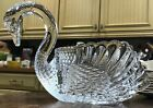VINTAGE IRELAND Shannon Crystal Swan VASE Candy Nut Dish GLASS Server Excellent