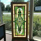 Framed Stained Glass Window W Beveled Center Flower Glass