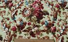 Antique French c1870 Hand Blocked Home Floral Sample Cotton Fabric L 19X W 31