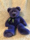 Ty Employee Bear Beanie Baby - Purple With Green Ribbon - Tag Included But Remvd