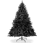 Black Artificial Christmas Tree Foldable Stand Home Holiday Spirit Decoration