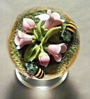 Clinton Smith Pink Flowers Buds and Bees Art Glass Paperweight