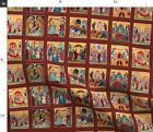 Nativity Orthodox Byzantine Icon Icons Feasts Fabric Printed by Spoonflower BTY
