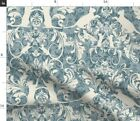 Cat Damask Floral Swirls Blue White Home Decor Fabric Printed by Spoonflower BTY