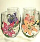 Hand Painted Stemless Wine Glass Set of Four Lilies in 4 Different Colors