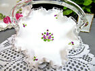 FENTON LARGE MILK GLASS BASKET WITH PAINTED VIOLETS RUFFLED EDGES SILVER CREST