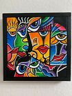 Abstract faces Rainbow Colors Acrylic Frame painting Walldecor By Isabel Lucas