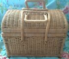 vintage Rattan Wicker BASKET Locking Handles PURSE picnic SUITCASE satchel