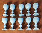 Set 10 Portieux Vallerysthall PV French Blue Milk Glass Cordial Goblets 3 1 4