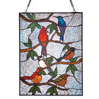 River of Goods Songbirds Stained Glass Panel Tiffany Style Wall Art Sun Catcher
