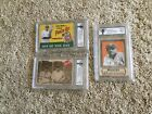 Lot of 3 BABE RUTH LOU GEHRIG Advertising Cards w Facs Auto GRADED 10