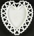 Mid Century Modern Westmoreland Vintage Glass White Milkglass Heart Shaped Plate