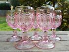 Moon and Stars Pink LE Smith OR Wright Glass Set of 5 Small Wine Glasses