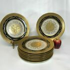 Set of 9 Hutschenreuther Gold Encrusted  Black Rim Dinner Plates