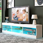 57 Modern TV Stand Cabinet Console with LED Lights Shelves Entertainment Center