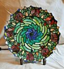 Tiffany Style Flower Plate Lamp Stained Glass Design Vintage 145 Jeweled