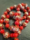Vintage Venician Red Gold Murano Glass Wedding Cake Beaded Necklace Italian 24