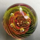 Round Art Glass Paperweight Res Yellow Swirl Controlled Bubbles Vintage