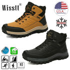 Mens Winter Warm Snow Fur Boots Waterproof Hiking Outdoor Leather Work Shoes