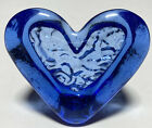 Fire And Light Recycled Glass Flowing Heart Paperweight 2  Signed