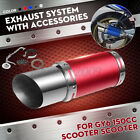 Short Stainless Exhaust Muffler Pipe Red Steel For GY6 125 150cc Chines