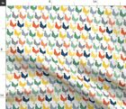 Rooster Rainbow Country Kitchen Chickens Farm Fabric Printed by Spoonflower BTY