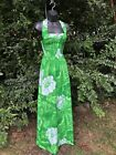 1970s Vintage Flower Power Green And White Floral Maxi Dress Xs