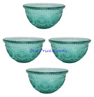 The Pioneer Woman 4 Piece Adeline Teal Embossed 13 Ounce Glass Fruit Bowl Set