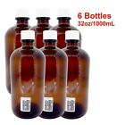 32oz1000ml Certified Sterile Amber Glass Boston Round Bottles With White Cap