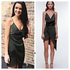 Stylestalker Trinity Faux Wrap Green Olive Asymmetric Satin Slip Party Dress