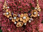 Gorgeous Vintage Signed Coro Floral Rhinestone  Faux Pearl Flowers Necklace