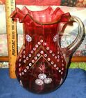 Vintage Cranberry Glass Hand Blown Ruffled Edge Pitcher Applied Flowers 9 Tall
