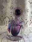 Fifth Avenue Heavy Crystal Glass Lavender Purple and Clear Perfume Bottle Dauber