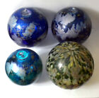 4 Vintage Art Glass Witch Ball Hand Blown Xmas Ornaments Unique Abstract Designs