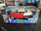 MUSCLE MACHINES 1955 CHEVY CALIFORNIA TO COOL IN RED WHITE 118 BRAND NEW IN BOX