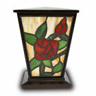 Rose Stained Glass Cremation Urn for Ashes Medium Red