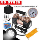 Heavy Duty Portable Air Compressor Car Tire Pump Inflator Auto Double cylinder