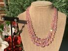 Vintage Signed Sherman Pink Faceted Crystal Glass Necklace  Dangle Earrings Set