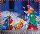 3 PC Lighted Mosaic Nativity Scene Joseph Mary Jesus Outdoor Christmas Holiday
