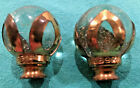 VINTAGE ANTIQUE CLEAR SEEDED GLASS BALL LAMP FINIALS BRASS PETAL METAL