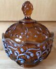 Fenton Glass Cameo Opalescent Lily of the Valley Covered Candy Dish