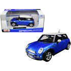 Mini Cooper Metallic Blue with White Top 1 24 Diecast Model Car by Maisto 31219b
