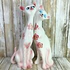 Vintage Set Of 2 Cat Figurines Pink Floral Animal Figurines White Tall