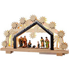 WeRChristmas Pre Lit Wooden Nativity Scene Illuminated with 8 Warm LED Lights