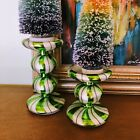 Green Peppermint Swirl Candle Holders  Candy  Gingerbread  Sweets  Baking
